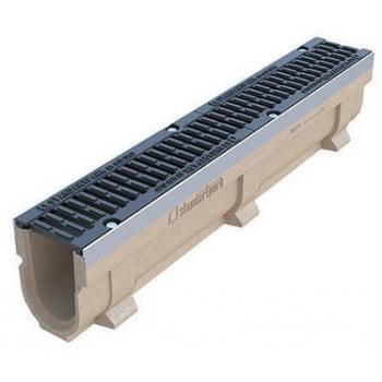 Лоток водоотводный полимербетонный CompoMax DN110 с чугунной решеткой кл. Е (комплект)