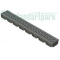 Лоток водоотводный S'park пластиковый серый DN100 h70 с решеткой