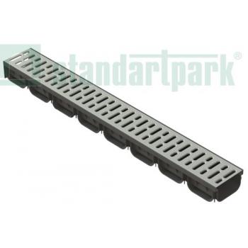 Лоток водоотводный S'park пластиковый DN100 h70 с решеткой стальной оцинкованной